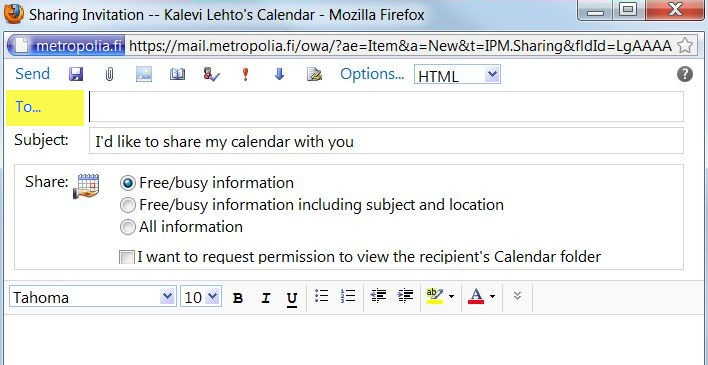 Sharing a calendar in the Outlook Web App (OWA) interface